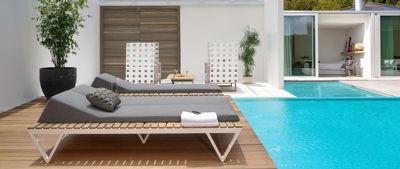 Picture of BONDI SUNBED DOUBLE ALU WITH TRAY TEAK