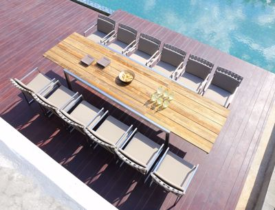 Picture of BAIA EXTENSION TABLE 230 (TEAK+STAINLESS STEEL)